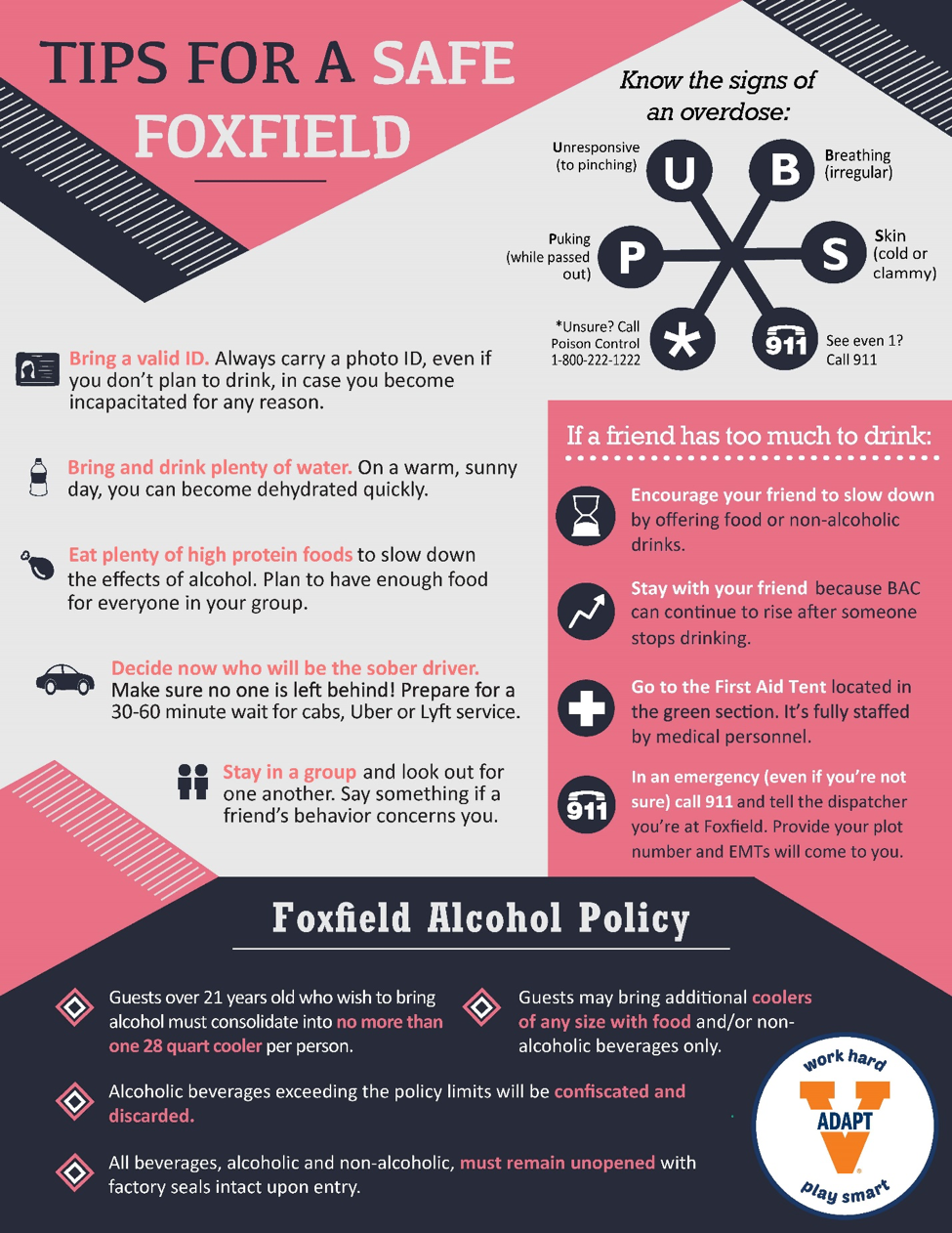 Tips for a Safe Foxfield Infographic. A text-only version is available at www.virginia.edu/adapt/foxfield.